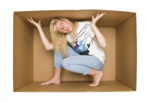This is an image of a woman trapped inside a box.