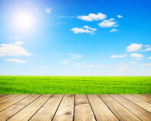 This is an image of a clear deck overlooking green grass and a clear blue sky