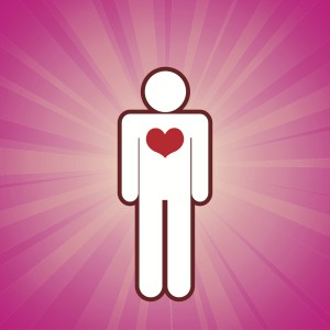 This is an image of an abstract human with a heart radiating light with a magenta background