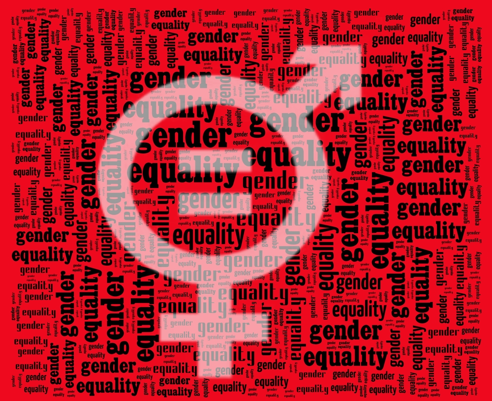 This is an image in red of the gender symbols with text that says Gender Equality