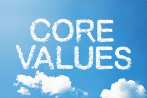 This is an image of words written in the form of clouds that say CORE VALUES
