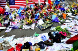 This is the image of a memorial in the aftermath of the Boston Marathon Bombings
