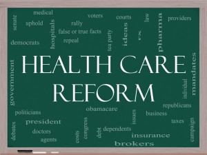 Image of Healthcare Reform with small text of words evoked by this
