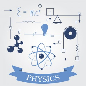 This is an image of different scientific symbols and formulas denoting physics