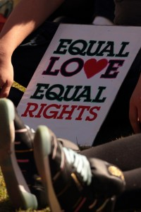 "This is the image of a sign that says, ""Equal Love, Equal Rights"""