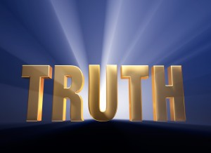 This is an image with the word TRUTH in bold with light shining behind it.