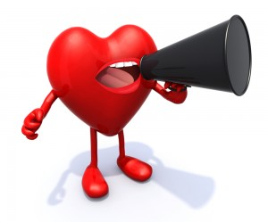 This is the image of a personified red hear with a megaphone