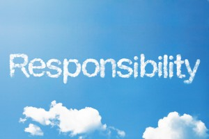"This is the image of a blue sky with some clouds with the word ""responsibility"" typed in a cloud-like font."