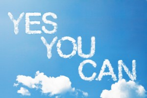 "This is the image of clouds in the sky with the words ""Yes You Can"" written in cloud font."